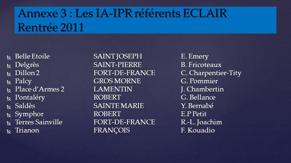 Annexe 3 : Les IA-IPR référents ECLAIR Rentrée 2011 Belle Etoile SAINT JOSEPH E.