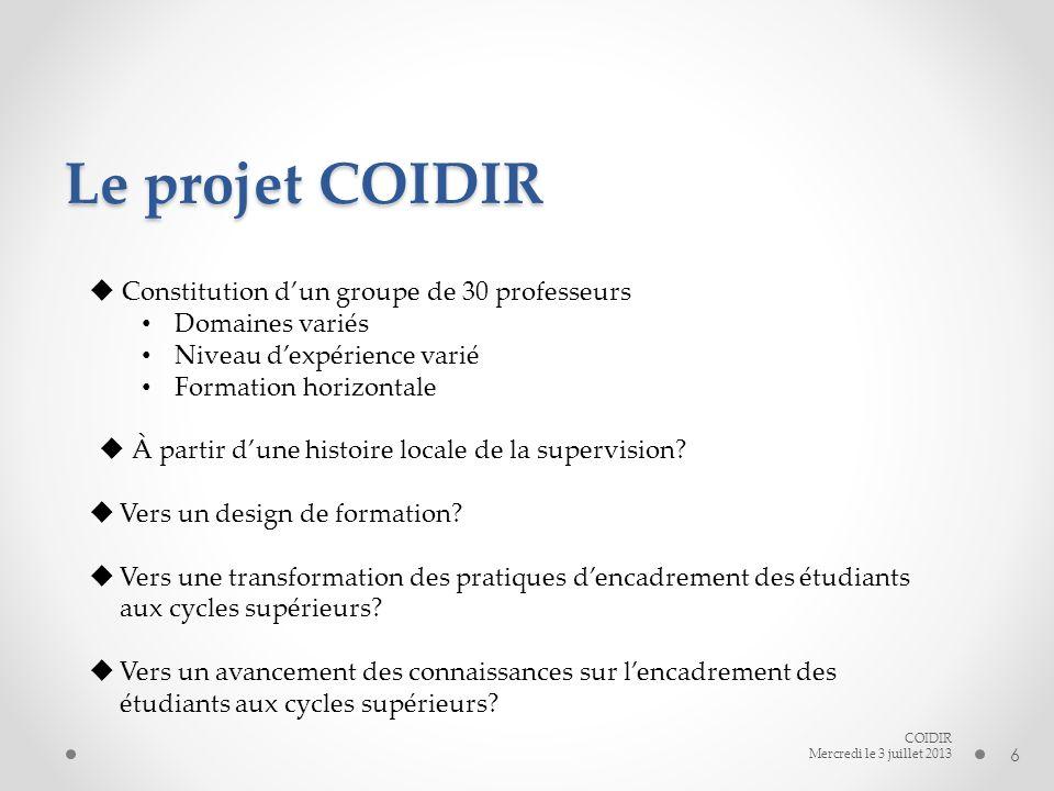 Le projet COIDIR 6 COIDIR Mercredi le 3 juillet 2013 Constitution dun groupe de 30 professeurs Domaines variés Niveau dexpérience varié Formation horizontale À partir dune histoire locale de la supervision.