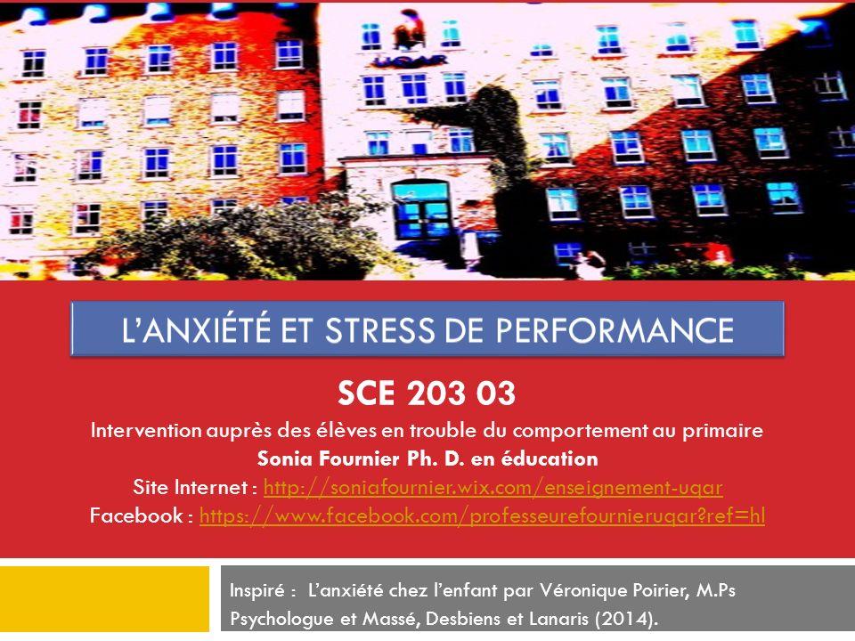 Inspiré : Lanxiété chez lenfant par Véronique Poirier, M.Ps Psychologue et Massé, Desbiens et Lanaris (2014). SCE 203 03 Intervention auprès des élève