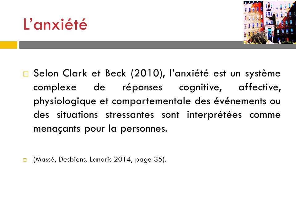 Lanxiété Selon Clark et Beck (2010), lanxiété est un système complexe de réponses cognitive, affective, physiologique et comportementale des événement