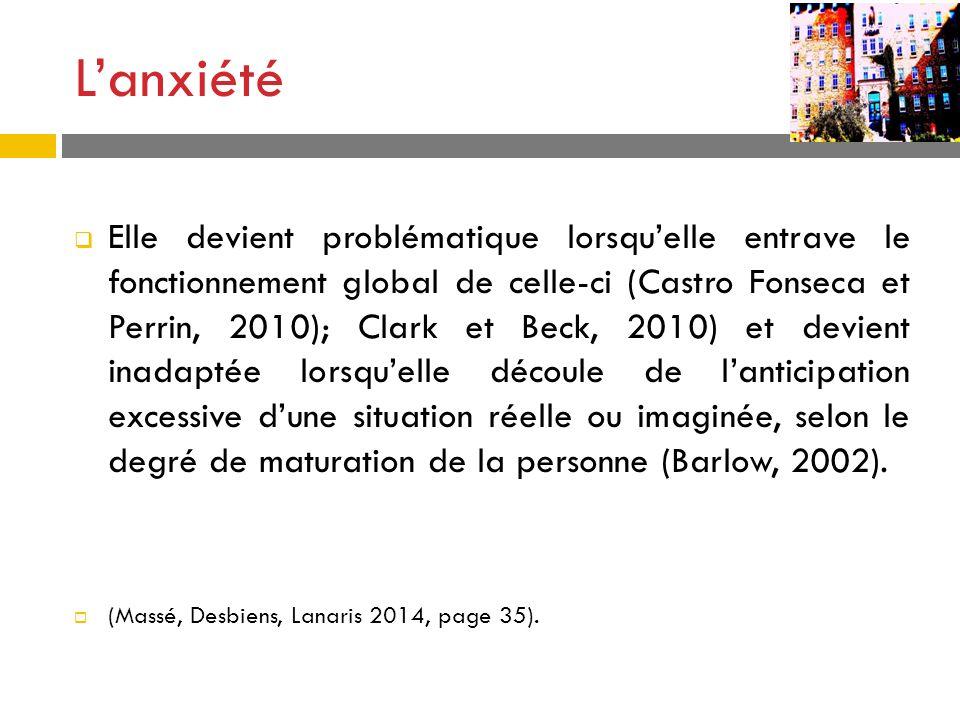 Lanxiété Elle devient problématique lorsquelle entrave le fonctionnement global de celle-ci (Castro Fonseca et Perrin, 2010); Clark et Beck, 2010) et