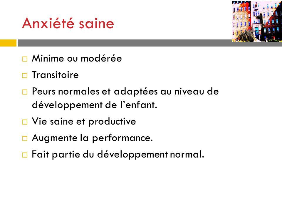 Anxiété saine Minime ou modérée Transitoire Peurs normales et adaptées au niveau de développement de lenfant. Vie saine et productive Augmente la perf