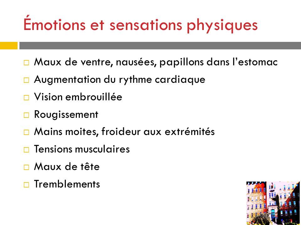 Émotions et sensations physiques Maux de ventre, nausées, papillons dans lestomac Augmentation du rythme cardiaque Vision embrouillée Rougissement Mai