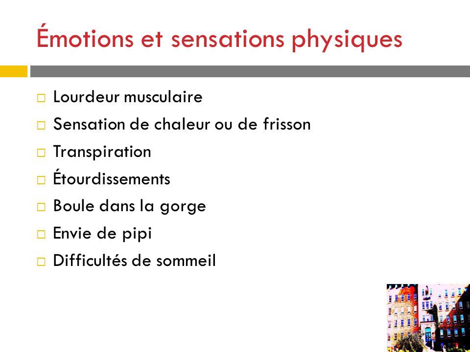 Émotions et sensations physiques Lourdeur musculaire Sensation de chaleur ou de frisson Transpiration Étourdissements Boule dans la gorge Envie de pip