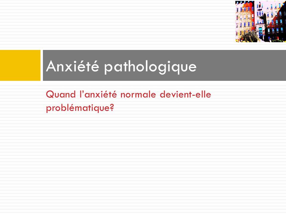 Quand lanxiété normale devient-elle problématique? Anxiété pathologique