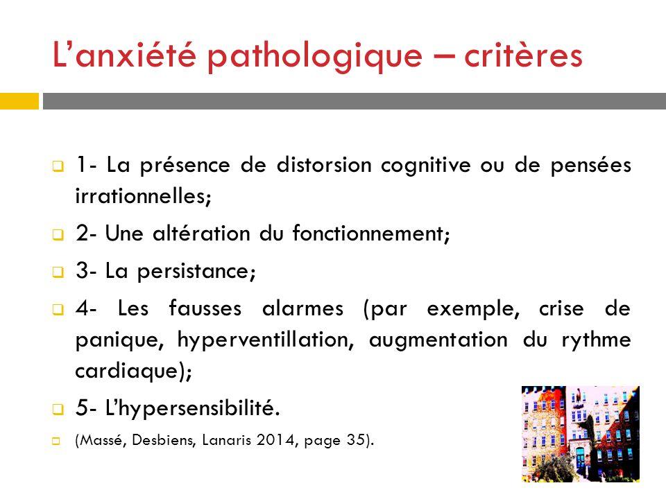 Lanxiété pathologique – critères 1- La présence de distorsion cognitive ou de pensées irrationnelles; 2- Une altération du fonctionnement; 3- La persi