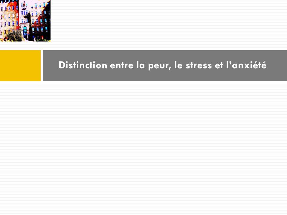 Distinction entre la peur, le stress et lanxiété