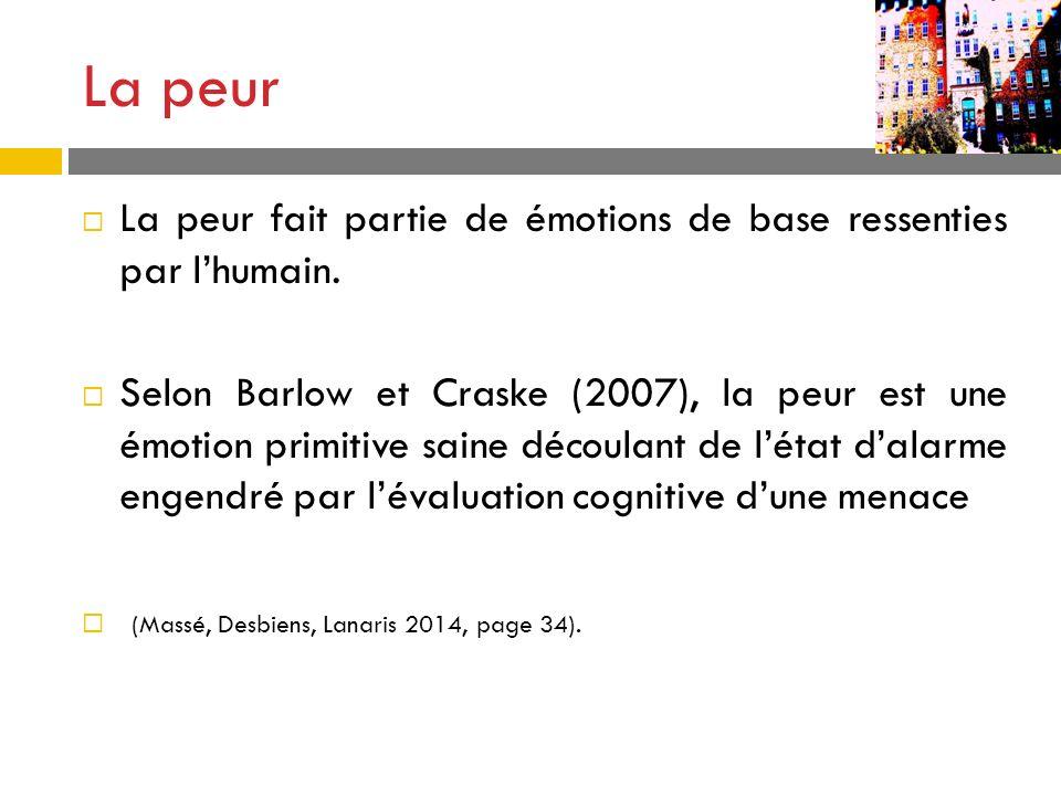 La peur fait partie de émotions de base ressenties par lhumain. Selon Barlow et Craske (2007), la peur est une émotion primitive saine découlant de lé