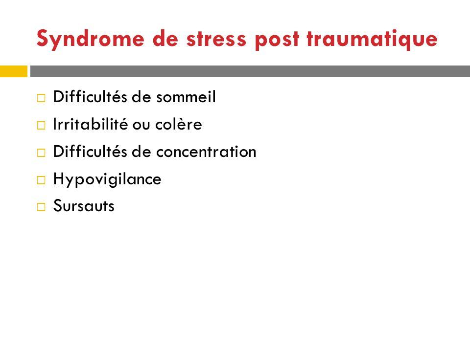 Syndrome de stress post traumatique Difficultés de sommeil Irritabilité ou colère Difficultés de concentration Hypovigilance Sursauts