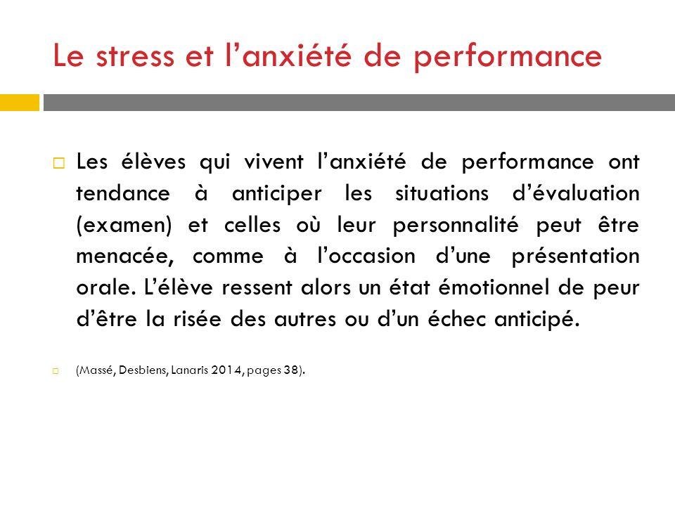 Le stress et lanxiété de performance Les élèves qui vivent lanxiété de performance ont tendance à anticiper les situations dévaluation (examen) et cel