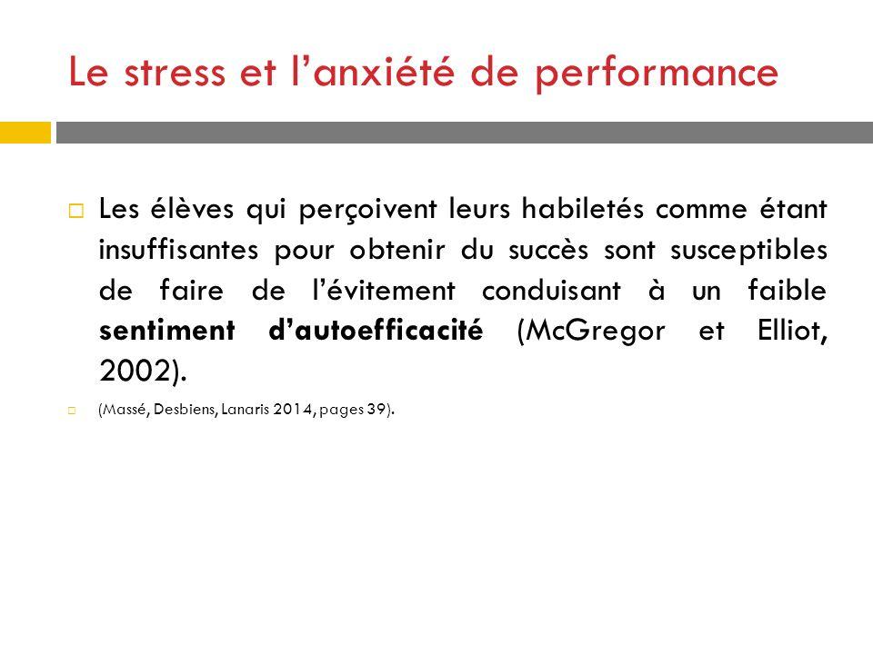Le stress et lanxiété de performance Les élèves qui perçoivent leurs habiletés comme étant insuffisantes pour obtenir du succès sont susceptibles de f