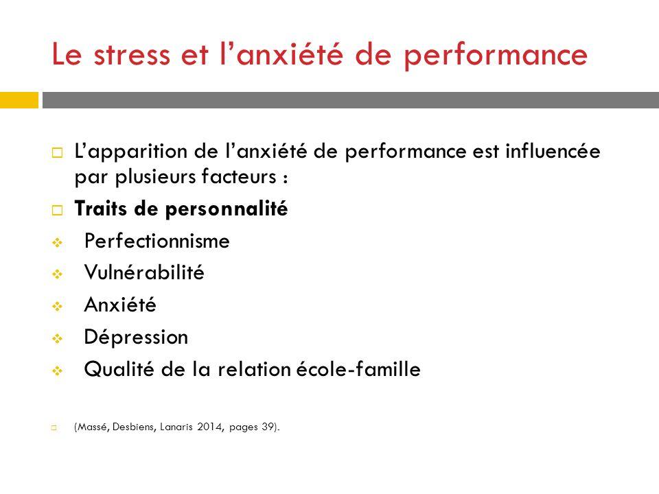 Le stress et lanxiété de performance Lapparition de lanxiété de performance est influencée par plusieurs facteurs : Traits de personnalité Perfectionn