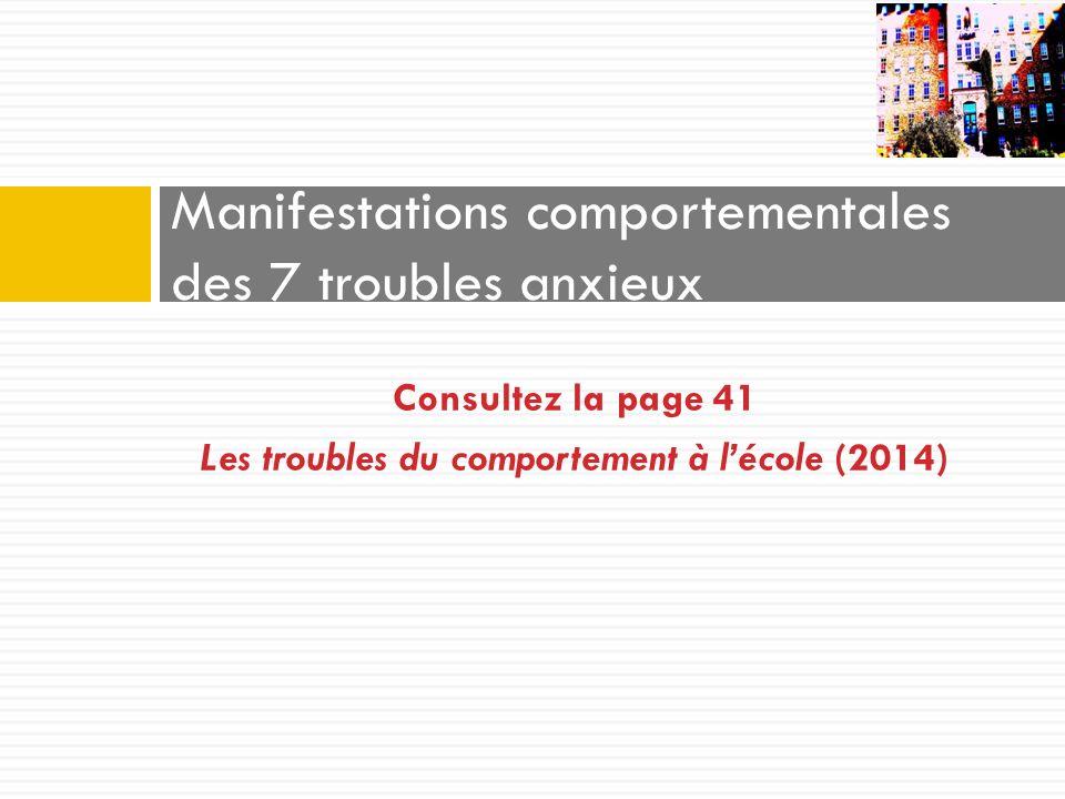 Consultez la page 41 Les troubles du comportement à lécole (2014) Manifestations comportementales des 7 troubles anxieux
