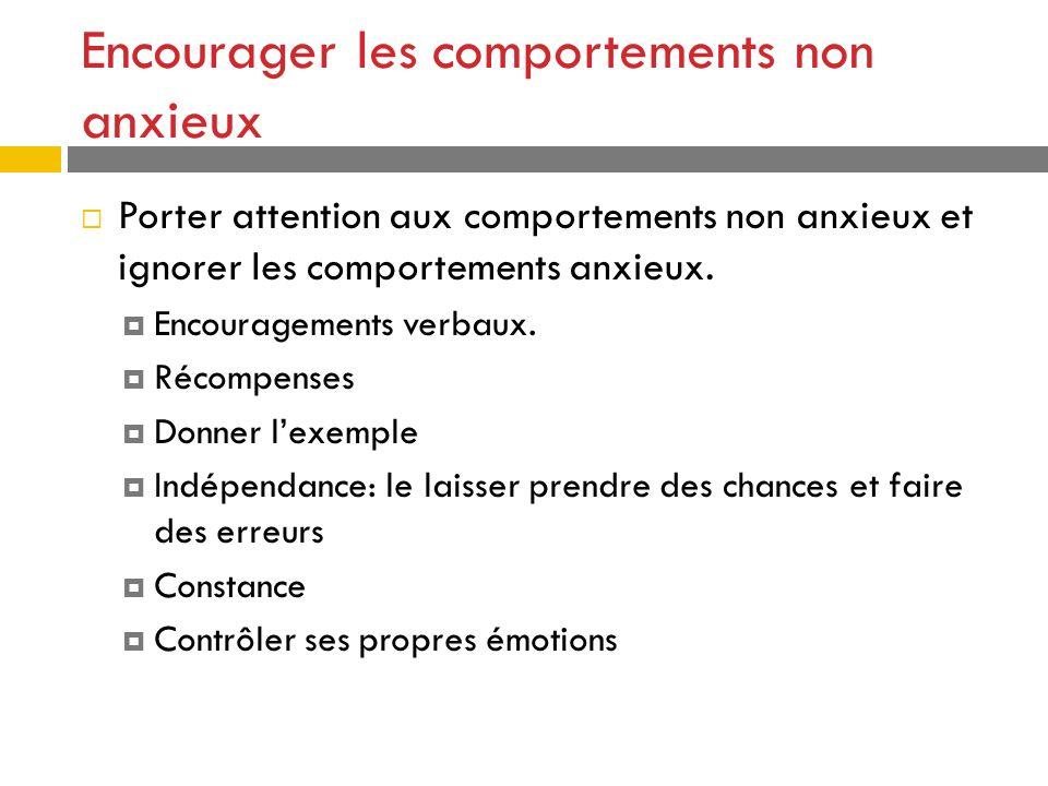 Encourager les comportements non anxieux Porter attention aux comportements non anxieux et ignorer les comportements anxieux. Encouragements verbaux.