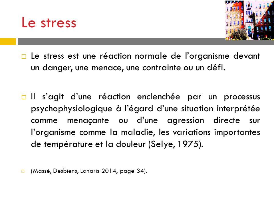 Le stress Le stress est une réaction normale de lorganisme devant un danger, une menace, une contrainte ou un défi. Il sagit dune réaction enclenchée