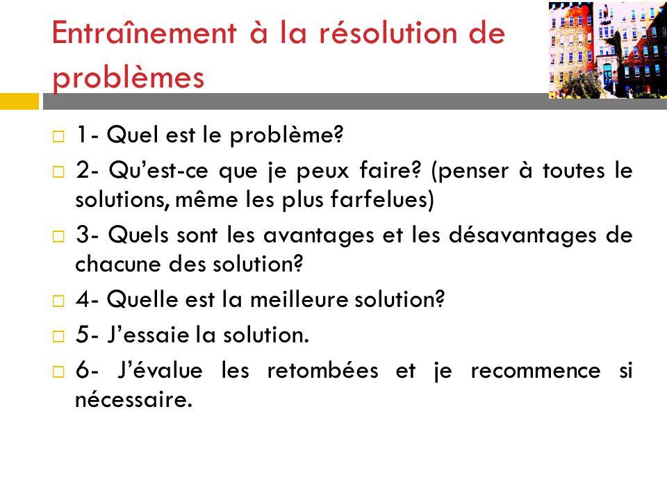 Entraînement à la résolution de problèmes 1- Quel est le problème? 2- Quest-ce que je peux faire? (penser à toutes le solutions, même les plus farfelu