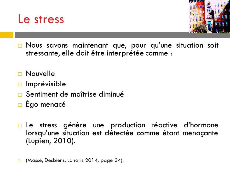 Le stress Nous savons maintenant que, pour quune situation soit stressante, elle doit être interprétée comme : Nouvelle Imprévisible Sentiment de maît