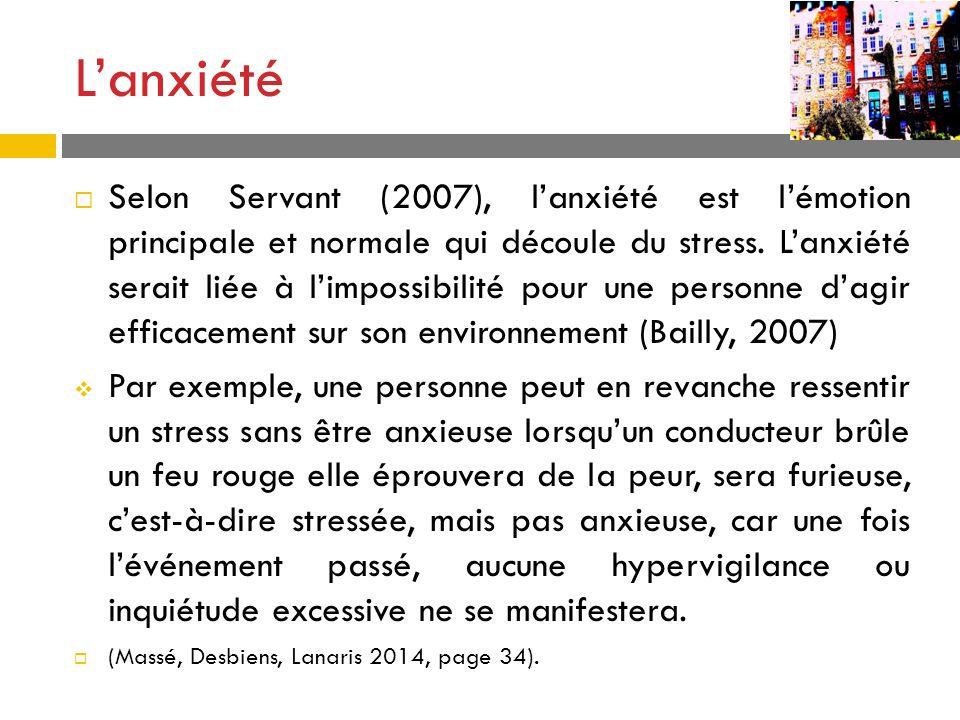 Lanxiété Selon Servant (2007), lanxiété est lémotion principale et normale qui découle du stress. Lanxiété serait liée à limpossibilité pour une perso