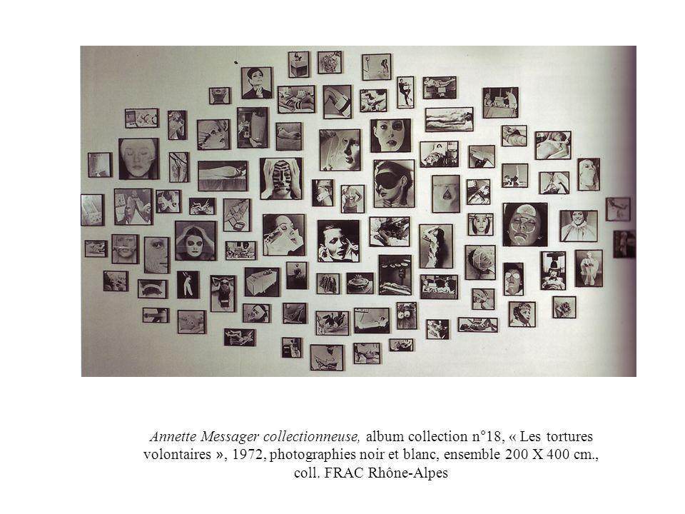 Annette Messager collectionneuse, album collection n°18, « Les tortures volontaires », 1972, photographies noir et blanc, ensemble 200 X 400 cm., coll