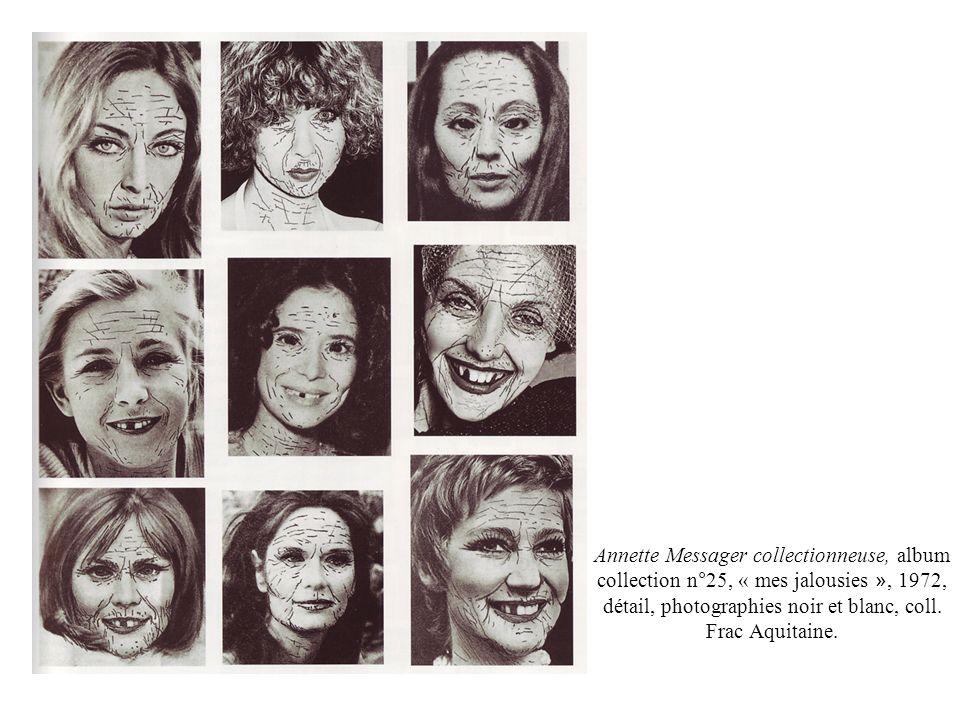Annette Messager femme pratique, album collection n°7, « mes travaux d aiguille », 1972, dessins et tissus cousus, chaque panneau : 30,5 X 45,5 cm., coll.