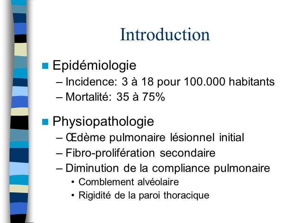 Introduction Epidémiologie –Incidence: 3 à 18 pour 100.000 habitants –Mortalité: 35 à 75% Physiopathologie –Œdème pulmonaire lésionnel initial –Fibro-prolifération secondaire –Diminution de la compliance pulmonaire Comblement alvéolaire Rigidité de la paroi thoracique