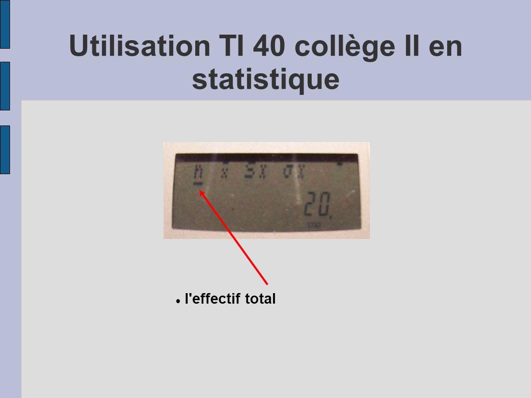 l'effectif total Utilisation TI 40 collège II en statistique