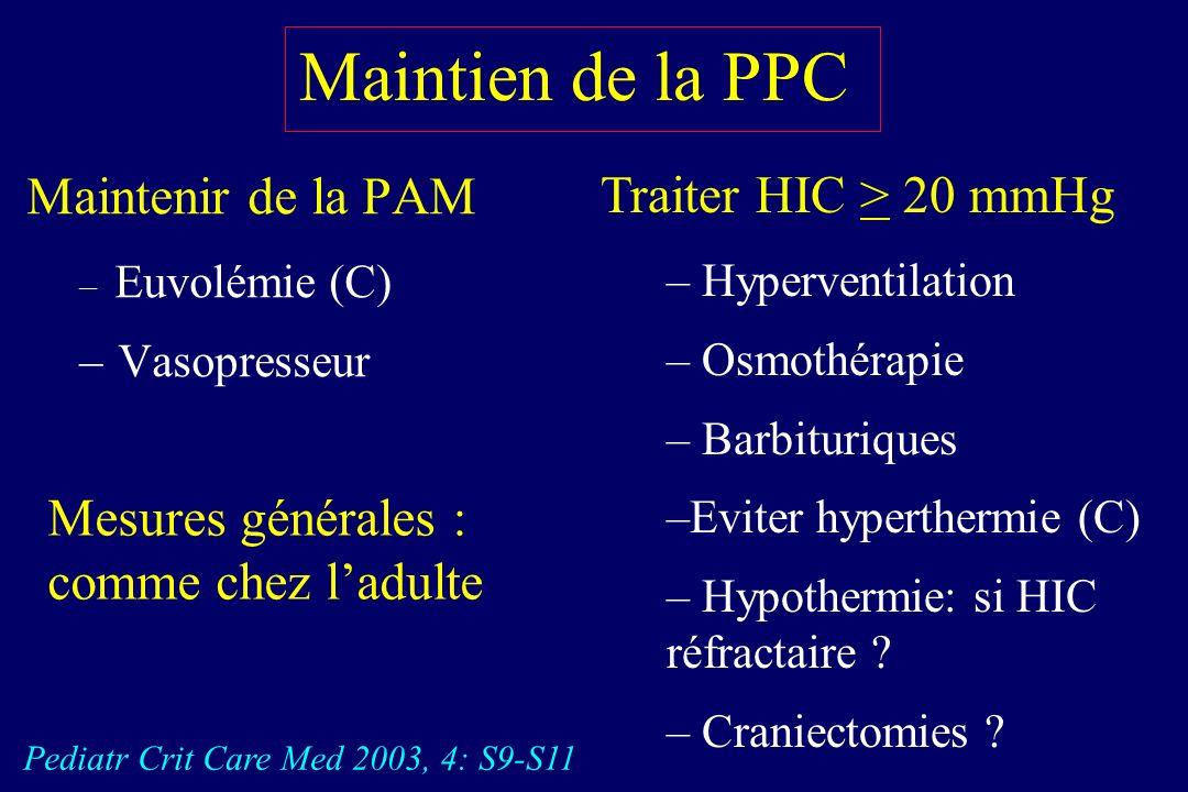 Détresse neurologique : Maintien de la PPC PPC > 50 mmHg : facteur pronostic (VVP : 94 %) Hackbarth RM. Crit Care Med 2002, 30: 1630-5 Globalement PPC
