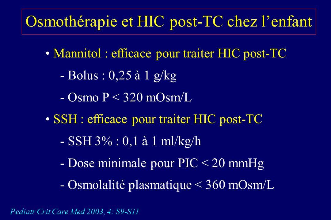 Intérêt du SSH 3% en continu en cas dHIC réfractaire chez lenfant Khanna S. Crit Care Med. 2000 28: 1144-51 NaCL 3% : QSP PIC < 20 mmHg