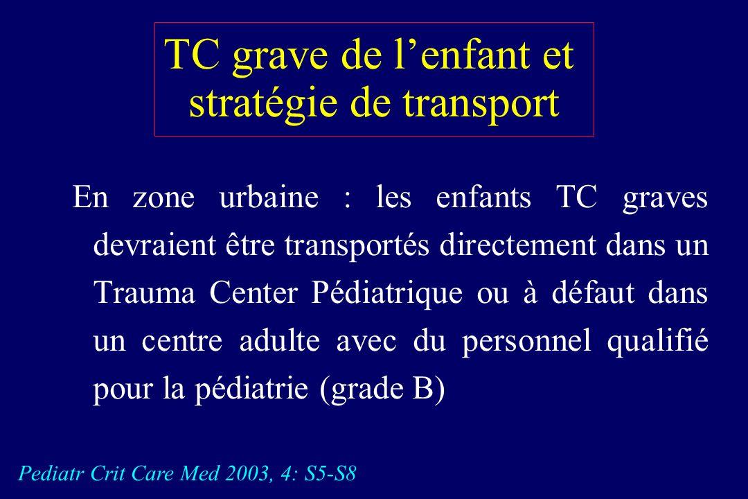 TC grave de lenfant et stratégie de transport En zone urbaine : les enfants TC graves devraient être transportés directement dans un Trauma Center Pédiatrique ou à défaut dans un centre adulte avec du personnel qualifié pour la pédiatrie (grade B) Pediatr Crit Care Med 2003, 4: S5-S8