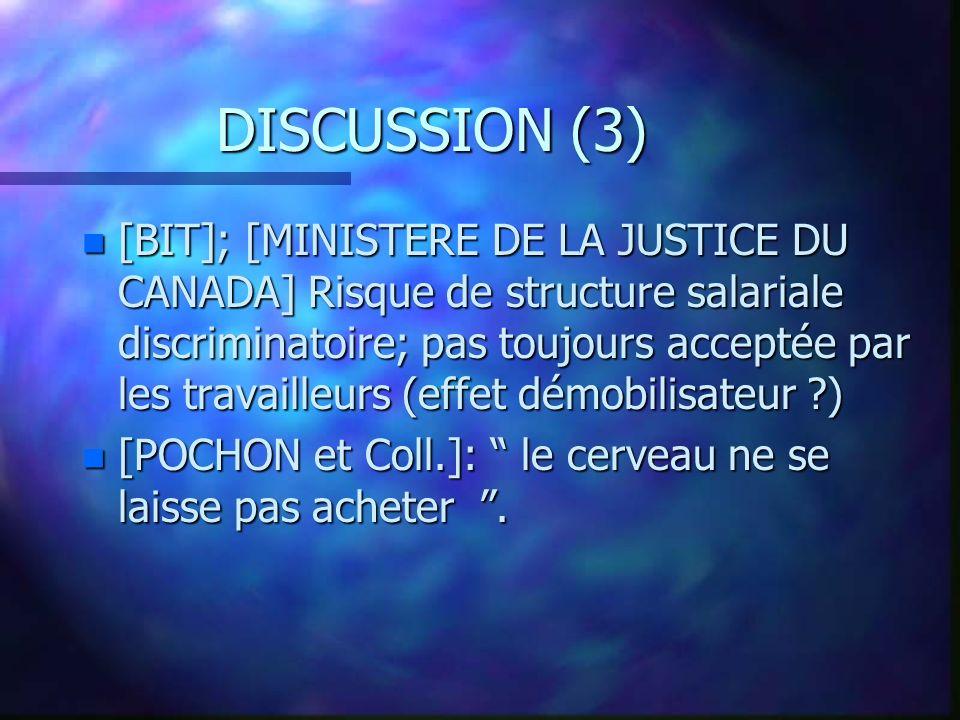 DISCUSSION (3) n [BIT]; [MINISTERE DE LA JUSTICE DU CANADA] Risque de structure salariale discriminatoire; pas toujours acceptée par les travailleurs (effet démobilisateur ) n [POCHON et Coll.]: le cerveau ne se laisse pas acheter.
