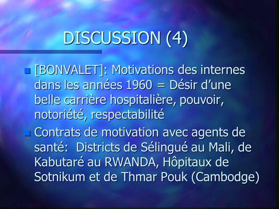 DISCUSSION (4) n [BONVALET]: Motivations des internes dans les années 1960 = Désir dune belle carrière hospitalière, pouvoir, notoriété, respectabilit