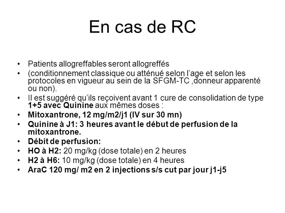 En cas de RC Patients allogreffables seront allogreffés (conditionnement classique ou atténué selon lage et selon les protocoles en vigueur au sein de