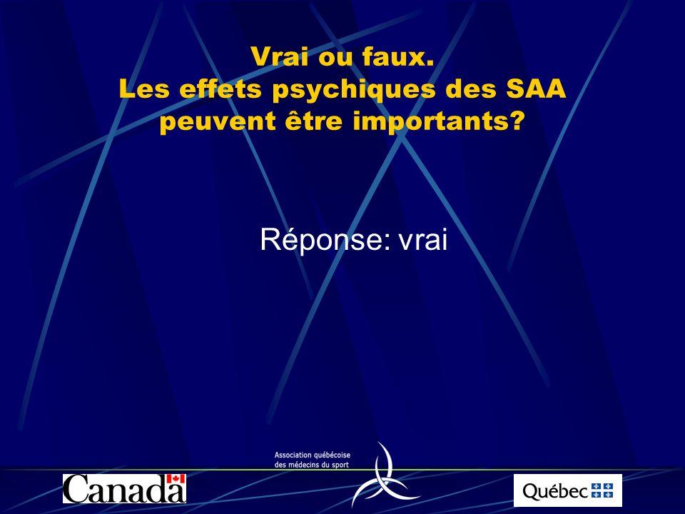 Vrai ou faux. Les effets psychiques des SAA peuvent être importants? Réponse: vrai