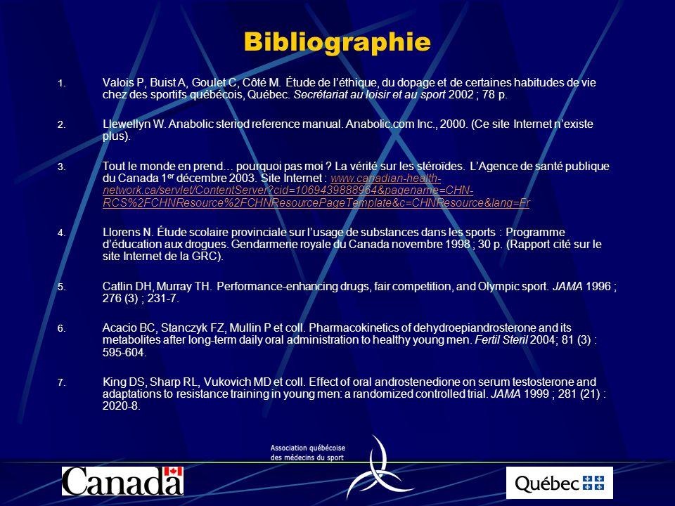 Bibliographie 1. Valois P, Buist A, Goulet C, Côté M. Étude de léthique, du dopage et de certaines habitudes de vie chez des sportifs québécois, Québe