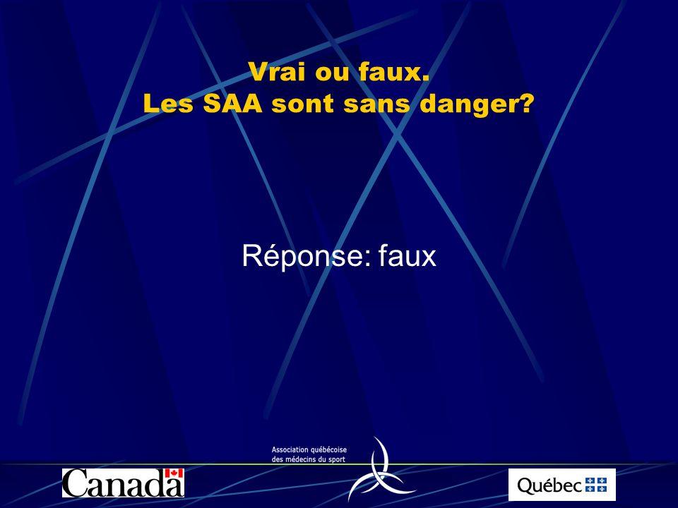 Vrai ou faux. Les SAA sont sans danger? Réponse: faux