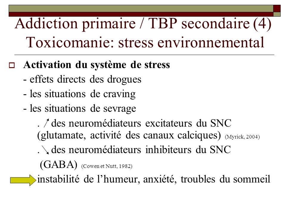 Addiction primaire / TBP secondaire (4) Toxicomanie: stress environnemental Activation du système de stress - effets directs des drogues - les situati