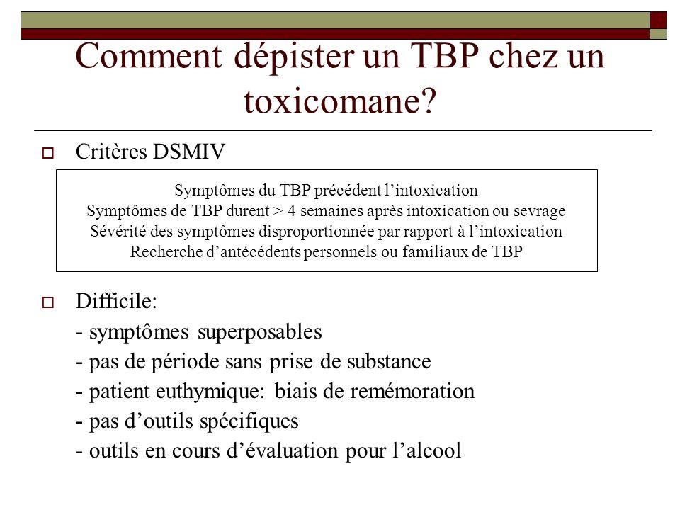 Comment dépister un TBP chez un toxicomane? Critères DSMIV Difficile: - symptômes superposables - pas de période sans prise de substance - patient eut