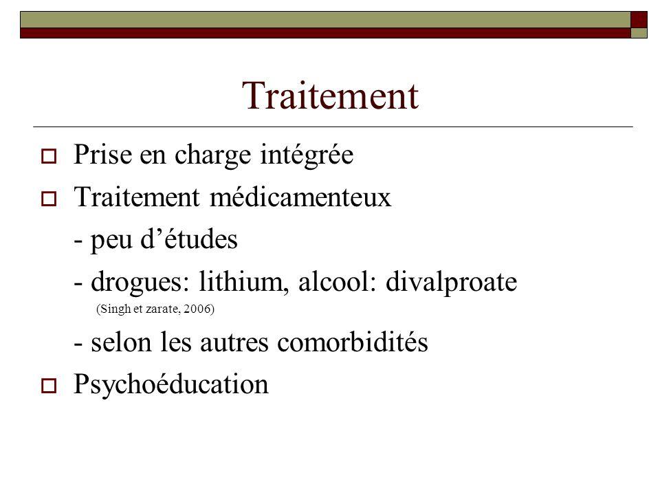 Traitement Prise en charge intégrée Traitement médicamenteux - peu détudes - drogues: lithium, alcool: divalproate (Singh et zarate, 2006) - selon les