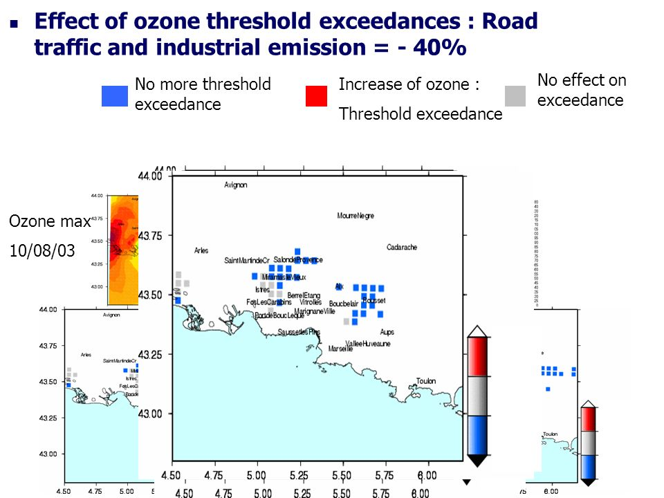 Effect of ozone threshold exceedances : Road traffic and industrial emission = - 40% Ozone max 10/08/03 Ozone max 12/08/03 No more threshold exceedance Increase of ozone : Threshold exceedance No effect on exceedance