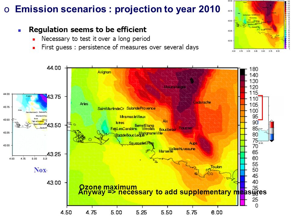 Regulation seems to be efficient Necessary to test it over a long period First guess : persistence of measures over several days Noxcov_40 Situation 2010 Ozone maximum oEmission scenarios : projection to year 2010 Anyway => necessary to add supplementary measures