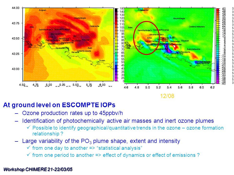 Workshop CHIMERE 21-22/03/05 At ground level on ESCOMPTE IOPs –Ozone production rates up to 45ppbv/h –Identification of photochemically active air mas