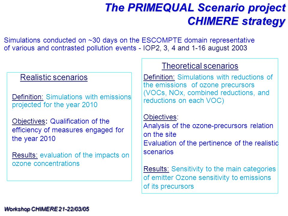 Workshop CHIMERE 21-22/03/05 Realistic scenarios Definition: Simulations with emissions projected for the year 2010 Objectives: Qualification of the efficiency of measures engaged for the year 2010 Results: evaluation of the impacts on ozone concentrations Theoretical scenarios Definition: Simulations with reductions of the emissions of ozone precursors (VOCs, NOx, combined reductions, and reductions on each VOC) Objectives: Analysis of the ozone-precursors relation on the site Evaluation of the pertinence of the realistic scenarios Results: Sensitivity to the main categories of emitter Ozone sensitivity to emissions of its precursors Simulations conducted on ~30 days on the ESCOMPTE domain representative of various and contrasted pollution events - IOP2, 3, 4 and 1-16 august 2003 The PRIMEQUAL Scenario project CHIMERE strategy