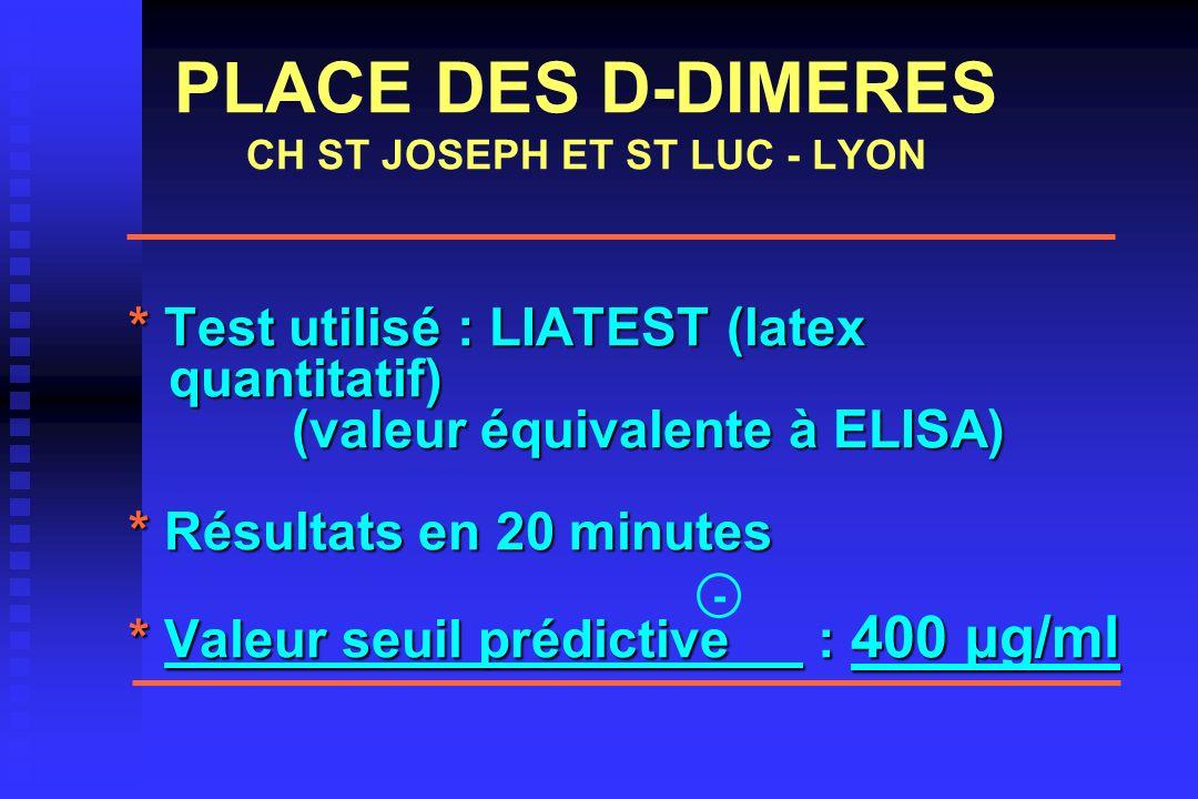 PLACE DES D-DIMERES CH ST JOSEPH ET ST LUC - LYON * Test utilisé : LIATEST (latex quantitatif) (valeur équivalente à ELISA) (valeur équivalente à ELIS