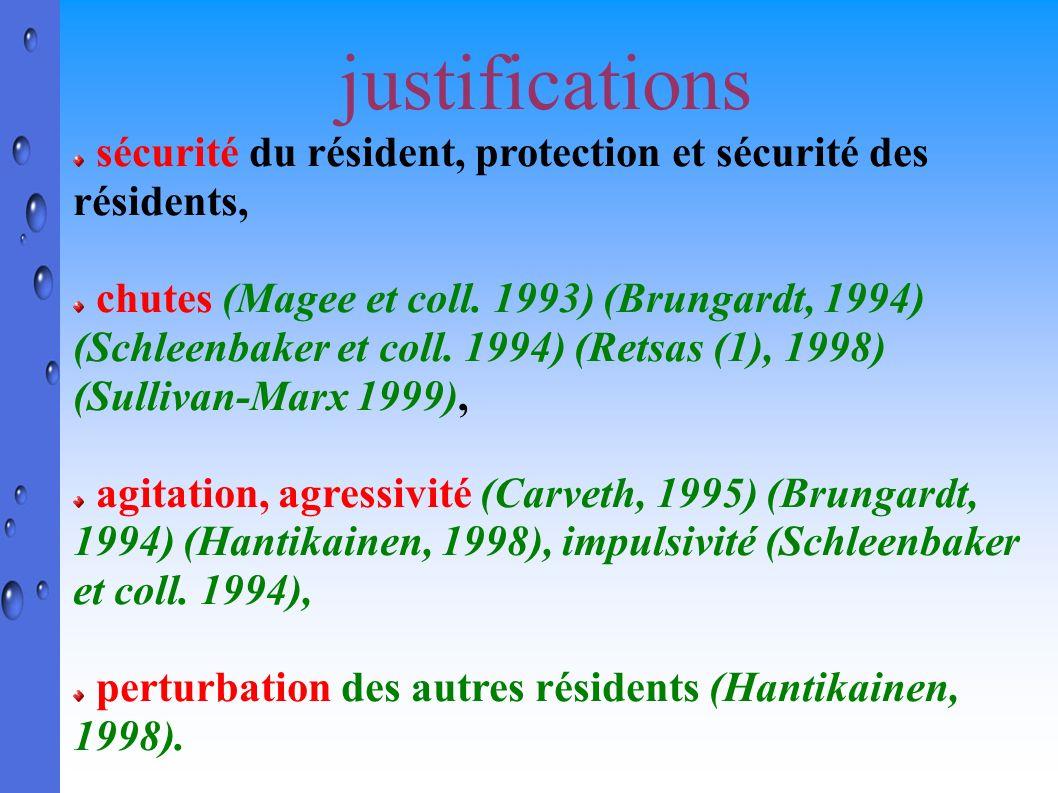 justifications sécurité du résident, protection et sécurité des résidents, chutes (Magee et coll. 1993) (Brungardt, 1994) (Schleenbaker et coll. 1994)