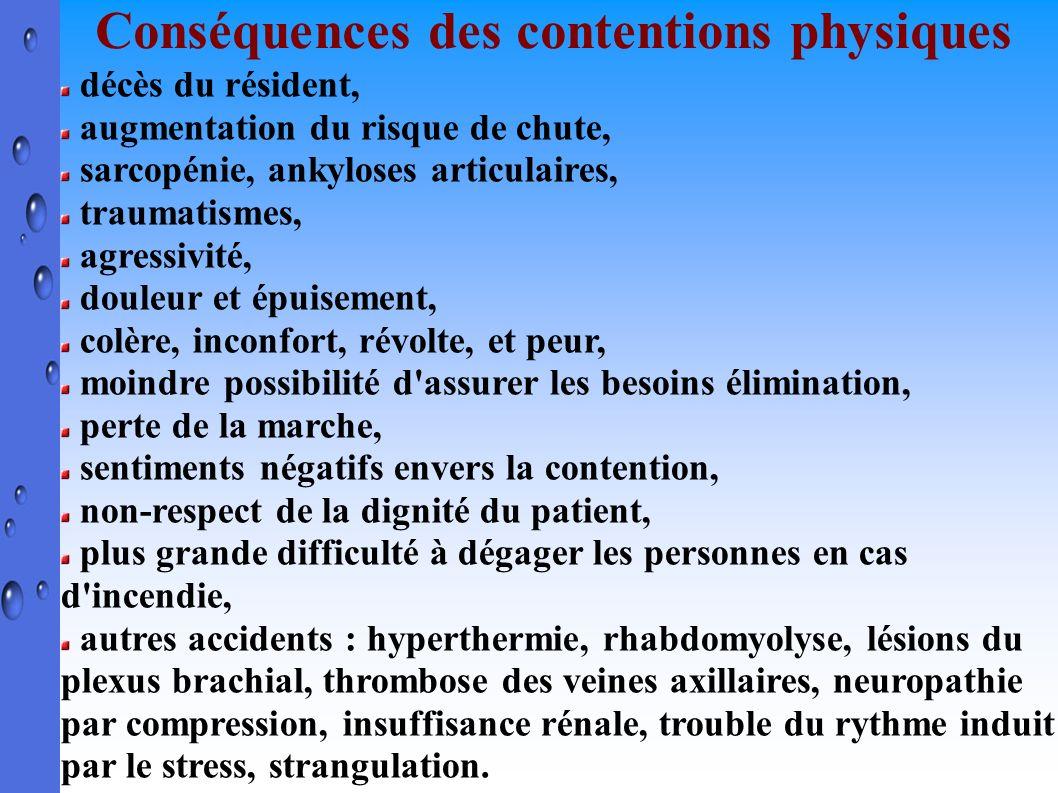 Conséquences des contentions physiques décès du résident, augmentation du risque de chute, sarcopénie, ankyloses articulaires, traumatismes, agressivi