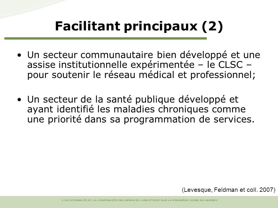 Un secteur communautaire bien développé et une assise institutionnelle expérimentée – le CLSC – pour soutenir le réseau médical et professionnel; Un secteur de la santé publique développé et ayant identifié les maladies chroniques comme une priorité dans sa programmation de services.