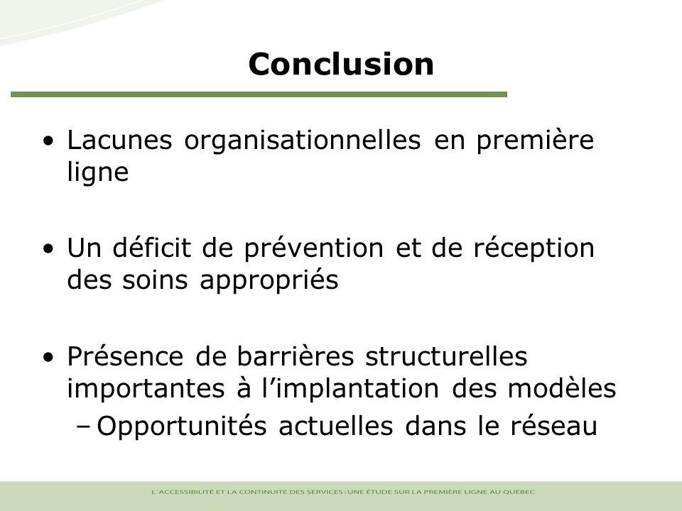 Conclusion Lacunes organisationnelles en première ligne Un déficit de prévention et de réception des soins appropriés Présence de barrières structurelles importantes à limplantation des modèles –Opportunités actuelles dans le réseau