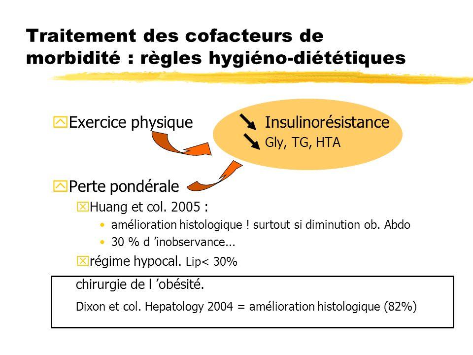 Traitement des cofacteurs de morbidité : règles hygiéno-diététiques yExercice physique Insulinorésistance Gly, TG, HTA yPerte pondérale xHuang et col.