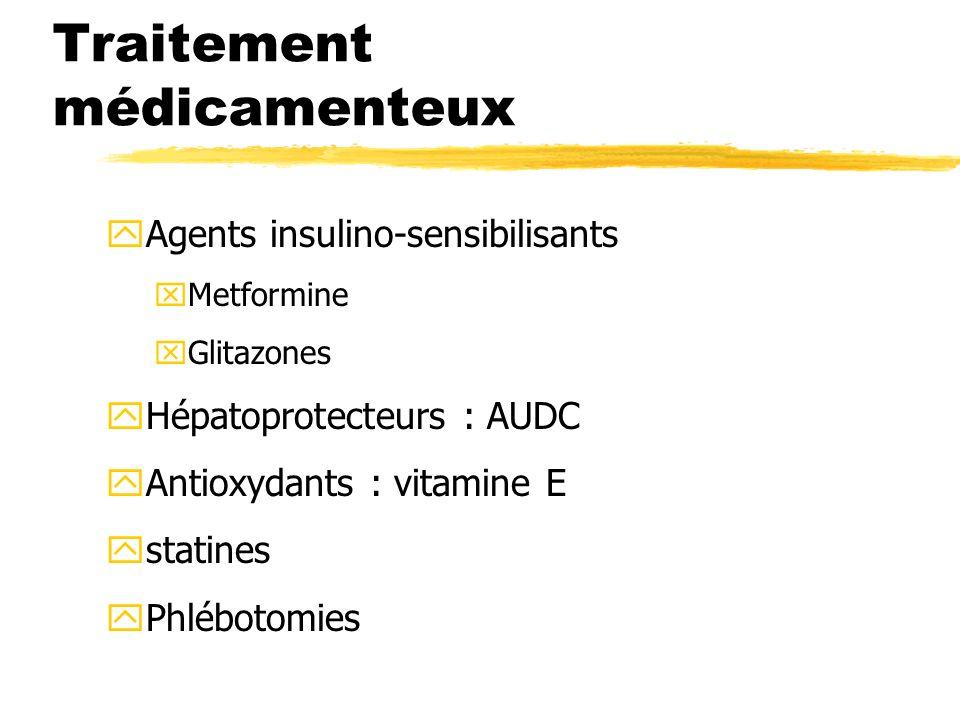 Traitement médicamenteux yAgents insulino-sensibilisants xMetformine xGlitazones yHépatoprotecteurs : AUDC yAntioxydants : vitamine E ystatines yPhléb