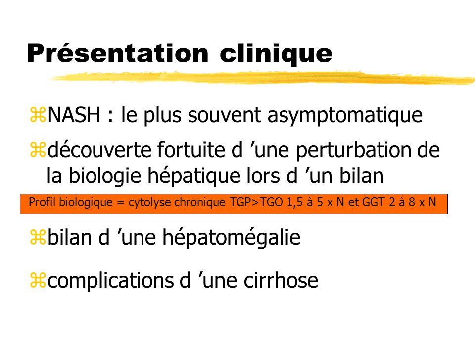 Présentation clinique zNASH : le plus souvent asymptomatique zdécouverte fortuite d une perturbation de la biologie hépatique lors d un bilan Profil b